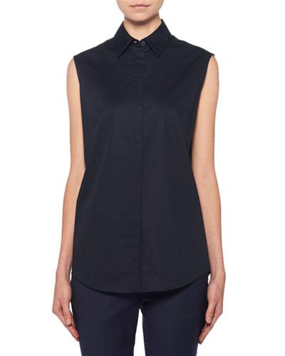 Mirabal Sleeveless Poplin Button-Front Blouse