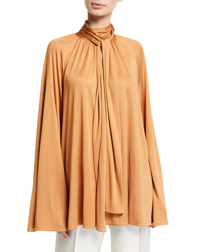 Merrian Twisted-Neck Charmeuse Blouse