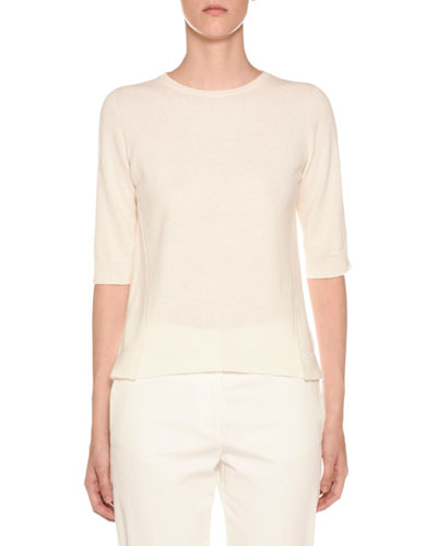 1/2-Sleeve Cashmere Sweater, Off White