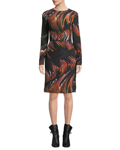 Long-Sleeve Marble Sheath Dress