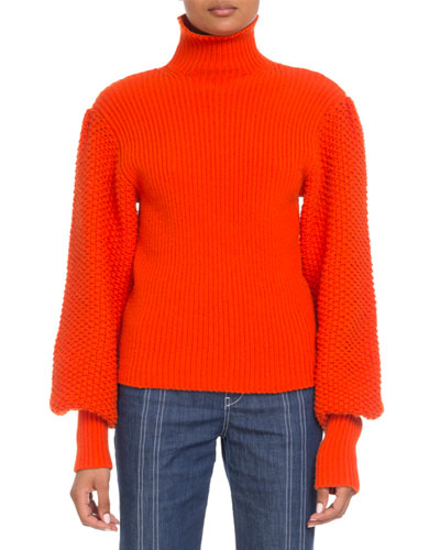 Wool-Cashmere Balloon-Sleeve Turtleneck Sweater