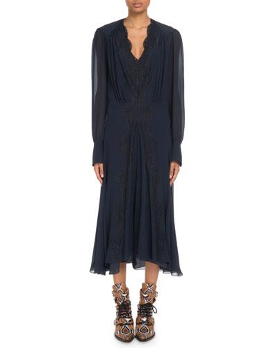Lace-Trimmed V-Neck Georgette Midi Dress