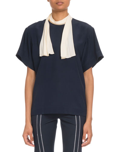 Short-Sleeve Contrast Scarf-Tie Blouse