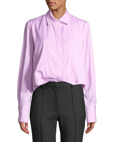Striped Cropped Button-Front Pleated Peplum Shirt