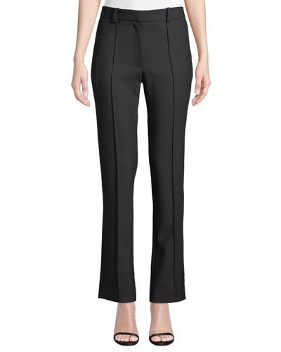 Mid-Rise Tapered Seamed Leg Trousers
