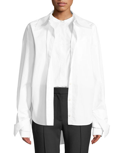 Poplin Button-Front Double Shirt