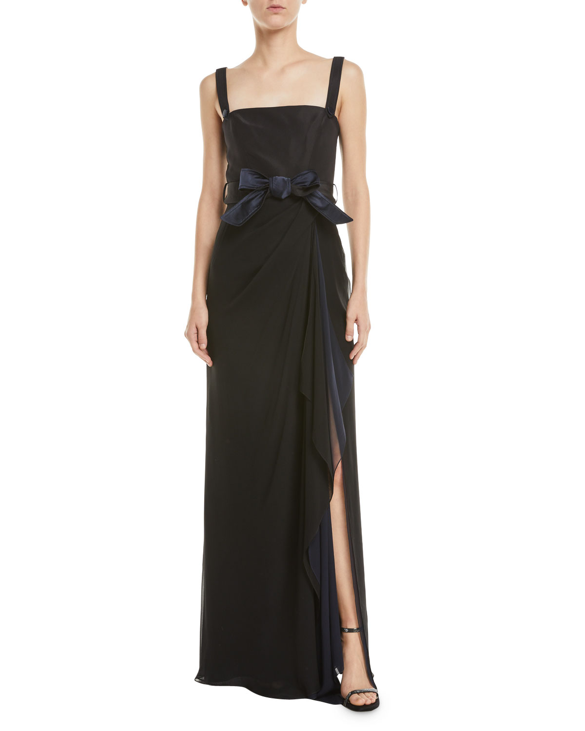 ATELIER CAITO FOR HERVE PIERRE Square-Neck Two-Tone Crepe Tie-Waist Gown in Black/Blue