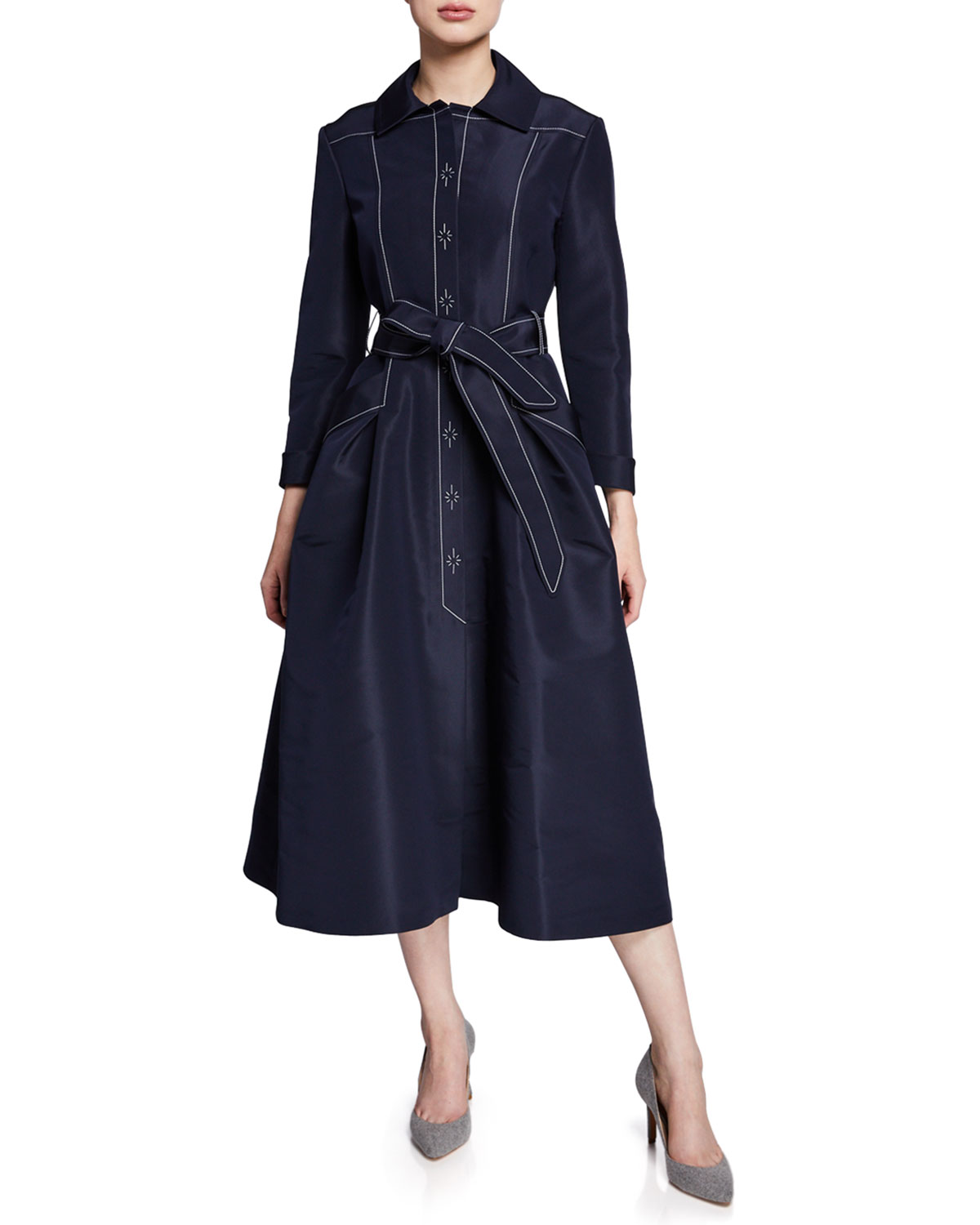 ATELIER CAITO FOR HERVE PIERRE A-Line Belted Silk Faille Gown in Navy