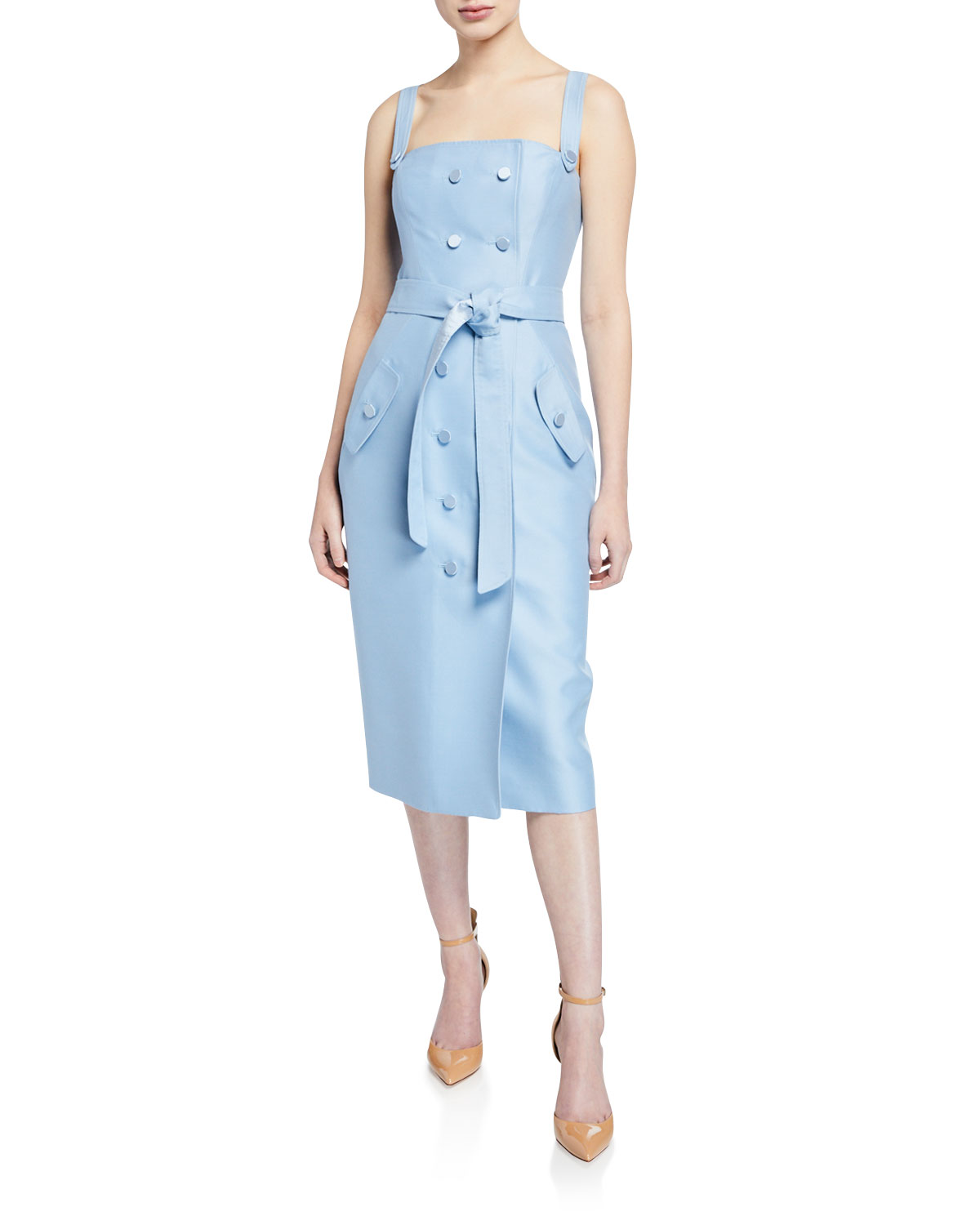 ATELIER CAITO FOR HERVE PIERRE Sleeveless Square-Neck Tie-Waist Dress in Pink
