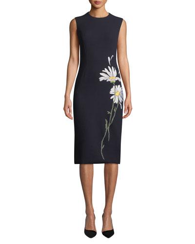 Sleeveless Daisy-Embroidered Midi Dress