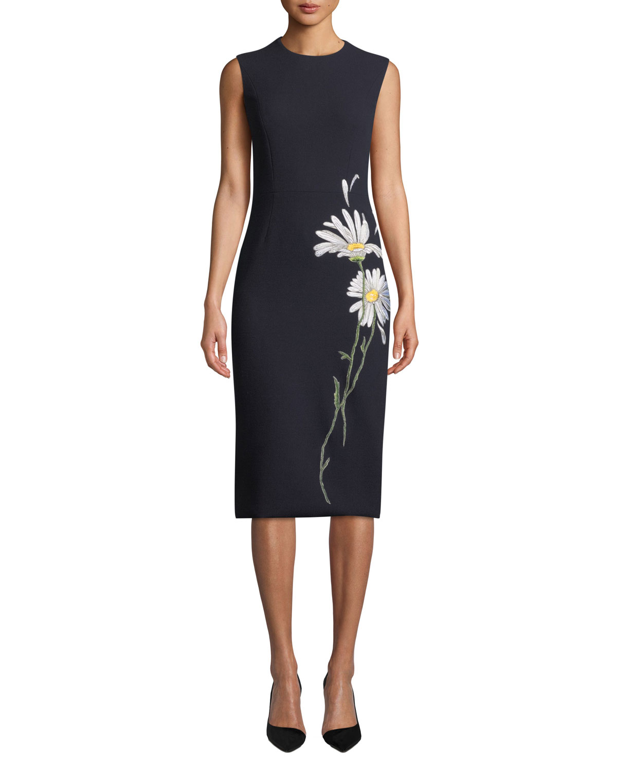 ATELIER CAITO FOR HERVE PIERRE Sleeveless Daisy-Embroidered Midi Dress in Navy