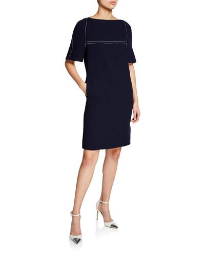 1/2-Sleeve Stitched Dress