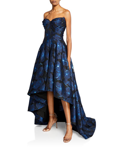 Strapless Floral Jacquard High-Low Gown