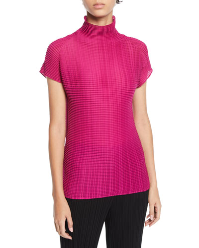 Short-Sleeve Pleated Turtleneck Top
