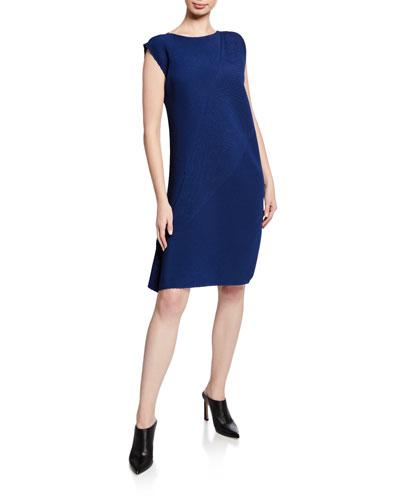 Pistil Pleats Cap-Sleeve Dress