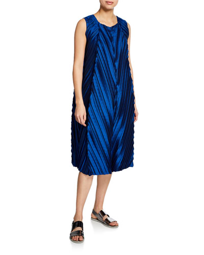 Petiole Pleated Satin Shift Dress