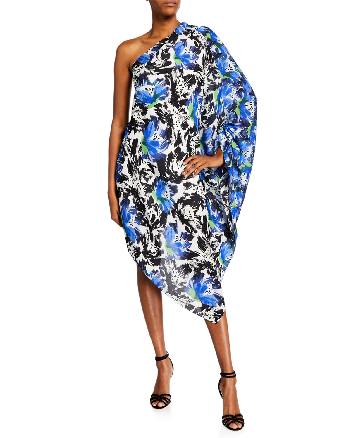 Roland Mouret Dresses KNIGHT ASYMMETRIC ONE-SHOULDER ABSTRACT FLORAL TUNIC DRESS