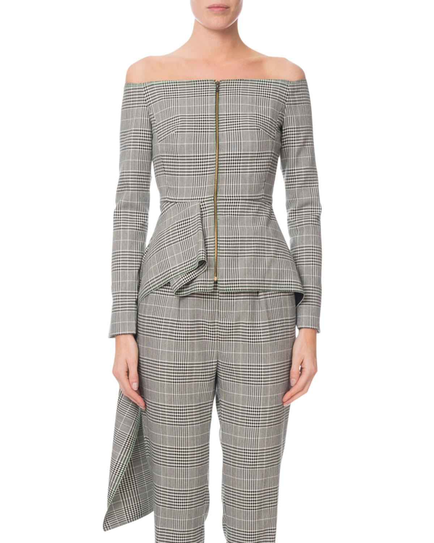 Roland Mouret Dresses ENDFIELD GLEN-CHECK OFF-THE-SHOULDER DRESS-BACK BLOUSE