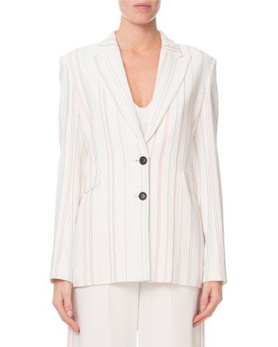 Neyman Topstitch-Embroidered Striped Blazer