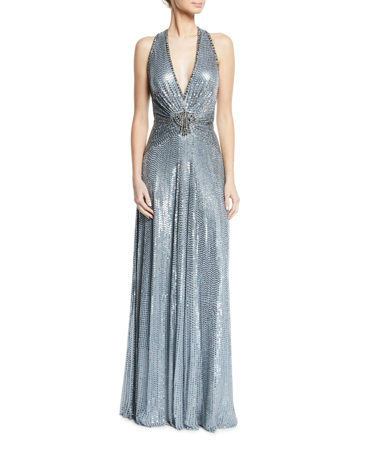 Crisscross-Back Metallic V-Neck Gown
