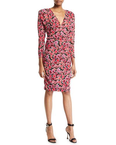Long-Sleeve Floral Print V-Neck Dress