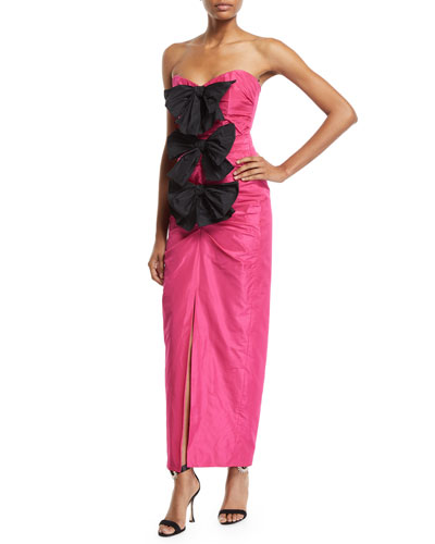 Bowed Strapless Taffeta Gown