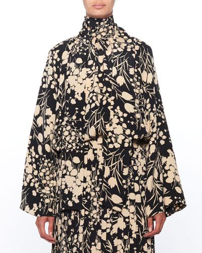 Merrian Mock-Neck Floral-Print Pleated Silk Top