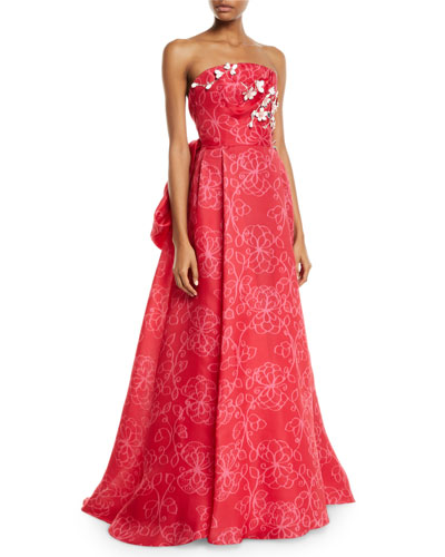 Strapless Floral-Embroidered Tie-Back Gown