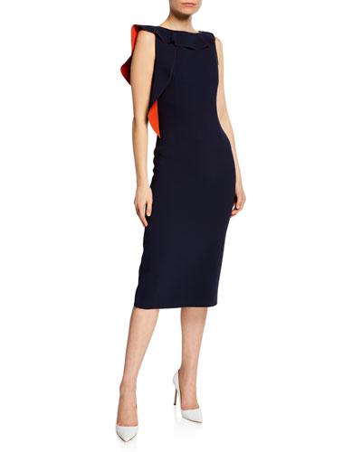 Asymmetric Ruffled-Neck Midi Sheath Dress