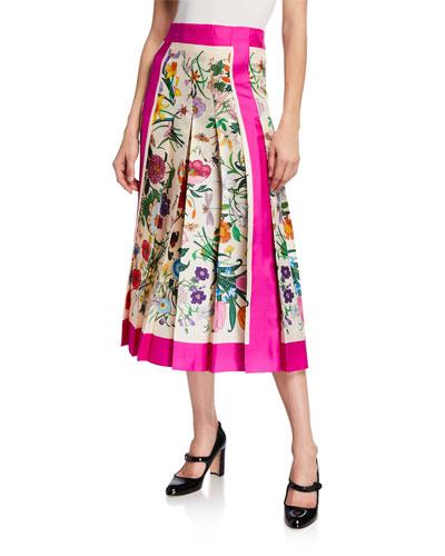 Flora Foulard Twill Midi Skirt