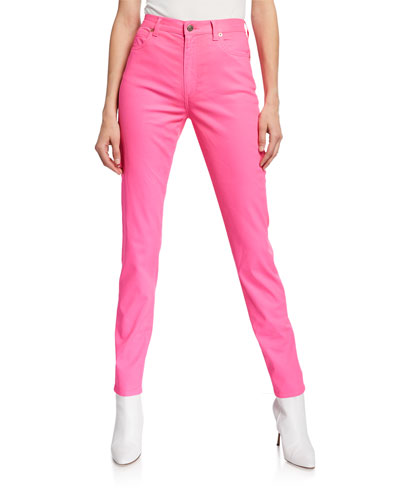 Dyed Denim Skinny Jeans, Bright Pink