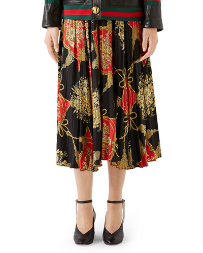 ff77b85d50 Intrigue Floral Tassel Print Pleated Silk Midi Skirt