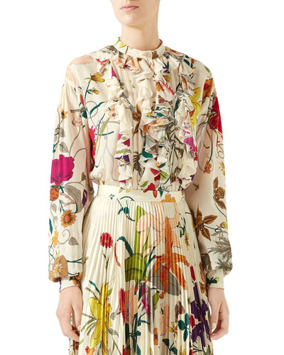 Flora Gothic Ruffled Button-Front Blouse