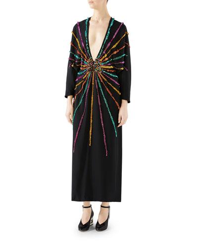 Sequined Crepe de Chine Deep-V Dress