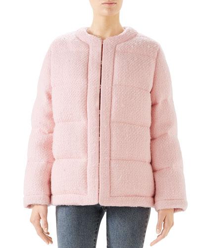 Soft Tweed Puffer Coat