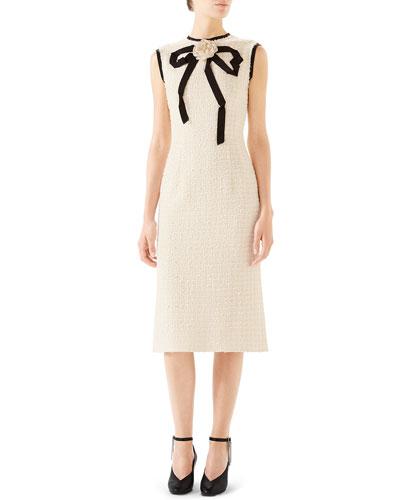 Rose-Front Bow-Neck Gauze Tweed Midi Dress