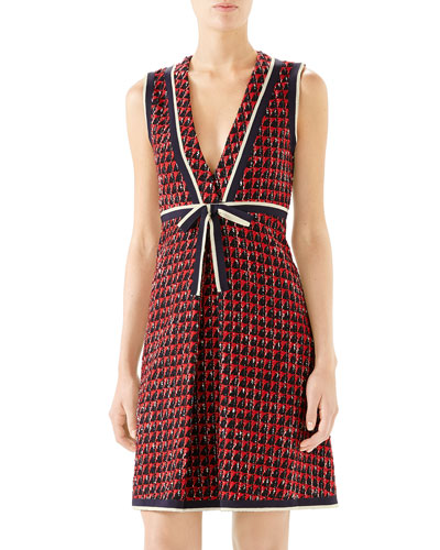Ribbon-Trim V-Neck Tweed Dress