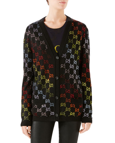 GG Rhinestoned Wool Cardigan