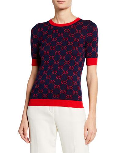 Short-Sleeve Fine Cotton Crewneck Top