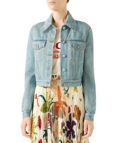 Patchwork-Back Stone-Washed Denim Jacket