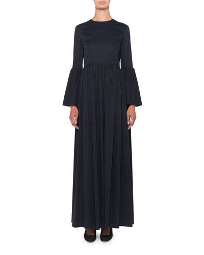 Sora Bell-Sleeve Poplin Maxi Dress
