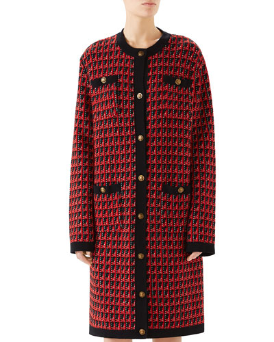 Long-Sleeve Check Soft Wool Cardigan