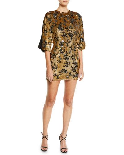 Open-Sleeve Sparkle Mini Dress