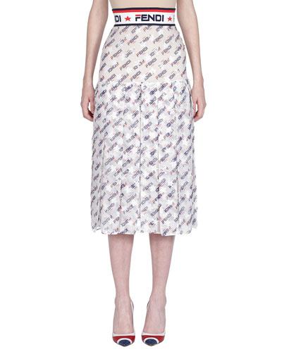 1870226f080f Fendi Mania Pleated Midi Skirt