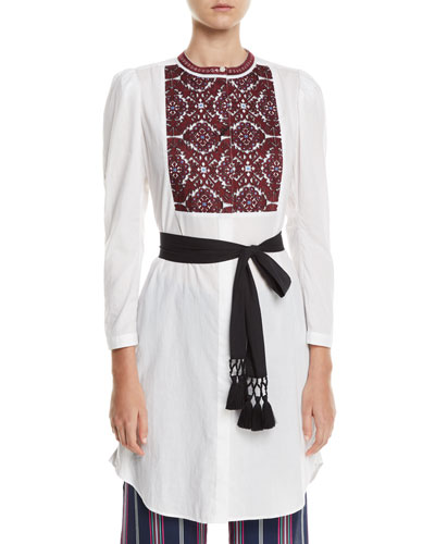 Perine Embroidered-Bib Tie-Waist Dress
