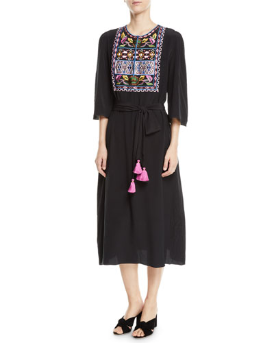 Dahlia 3/4-Sleeve Embroidered Bib Midi Dress