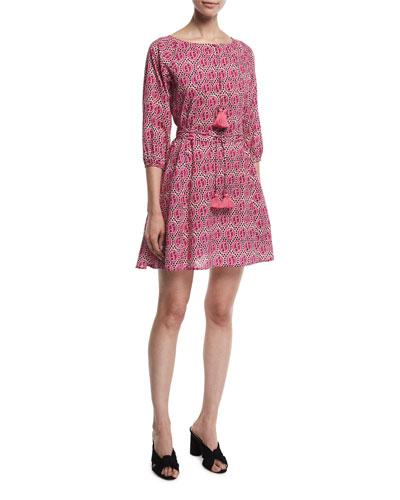 Jules Medallion Print Tassel-Trim Dress