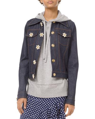 Floral Gem-Button Denim Jacket