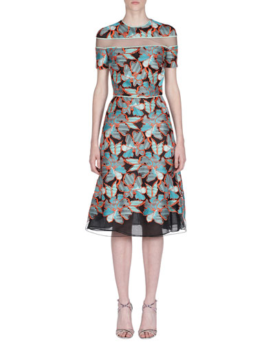 Short-Sleeve Floral Devore Illusion Dress