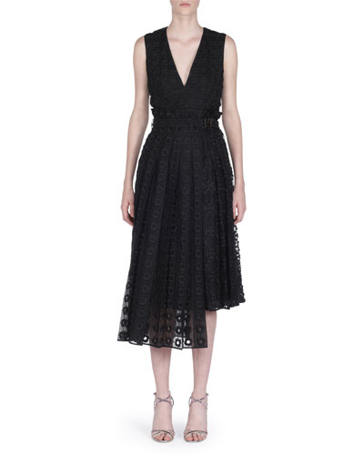 Belted Sleeveless Embroidered Organza Lace Dress